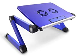 Lavolta Adjustable Vented Laptop Table Aluminium Notebook Desk Portable Stand Tray with CPU Fan Cooling Pad - Blue