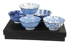 Oriental Gift set, 5 Japanese Bowls, Rice Bowl, Soup Bowl, Noodle Bowl