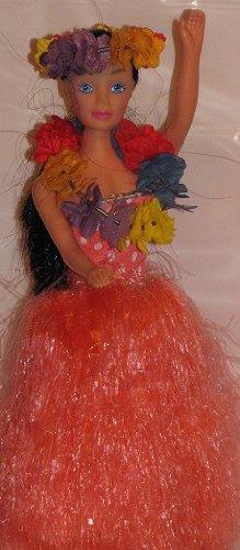 Hula Girl Dancing Orange Skirt