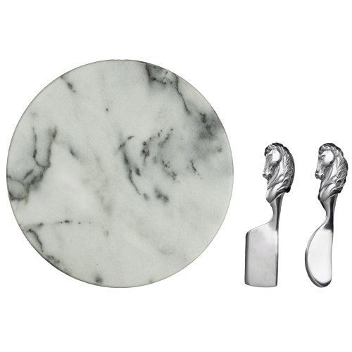 Arthur Court Horse Cheese Set With 12-Inch Marble