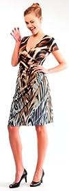 Womens Stunning Animal Print V-Neck Wrap Dress