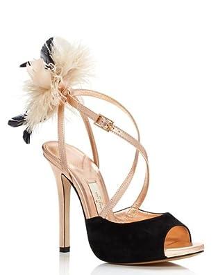 Kate Spade New York Carlton Heels Peep Tote Pump, Black / Rose Gold (7)