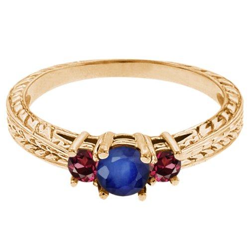 0.60 Ct Round Blue Sapphire Red Rhodolite Garnet 14K Yellow Gold 3-Stone Ring