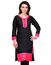 The Style Story Black Designer Cotton Kurti