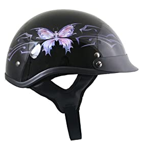 DOT Glossy Black Purple Butterfly Women's Helmet - Size : Medium