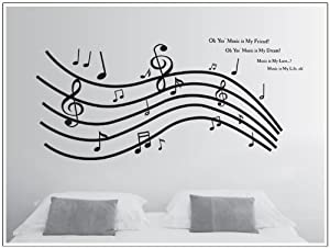 OneHouse Music is My Friend Quote Huge Music Note Wall Decal Home Decor Sticker by OneHouse