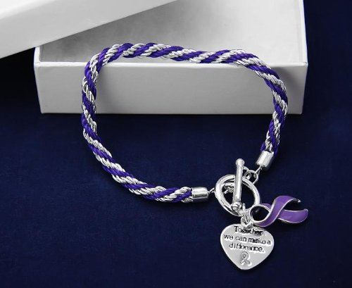Purple Ribbon Bracelet-Rope (18 Bracelets)
