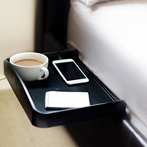 Bedside Attachable Shelf Tray with Built in Cup Holder and Phone Cable Slot with Raised Sides Ideal for Students (Kids Metal Tv Tray compare prices)