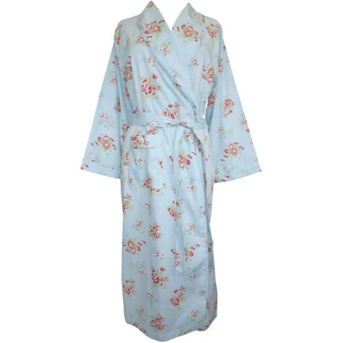 The Irish Linen Store Womens Greta Cotton Blue and Red Rose Floral Dressing Gown