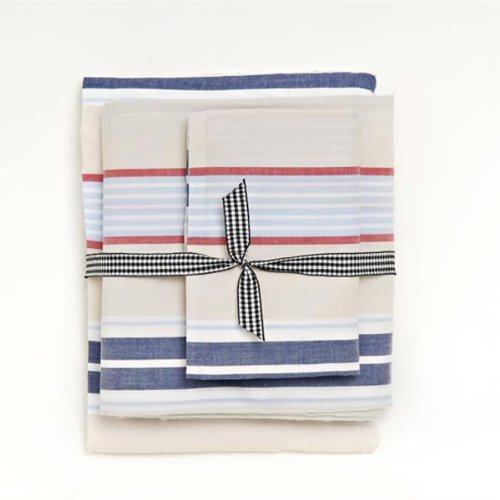 Khaki Preppy Stripe Twin Sheet Set front-800558
