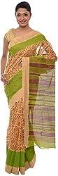 The Print Village Women's Cotton Silk Saree (Yellow)