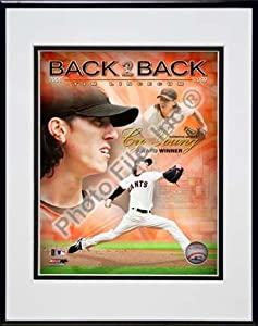 "Tim Lincecum 2009 National League Cy Young Award Winner Portrait Plus Double Matted 8"" x 10"" Photograph in Black Anodized Aluminum Frame"