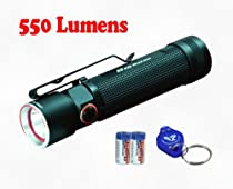 Olight S20-L2 550 Lumen Compact EDC LED Flashlight - Use 2x CR123A or 1x 18650 - Including 2xCR123A Batteries & Bonus Keychain Flashlight