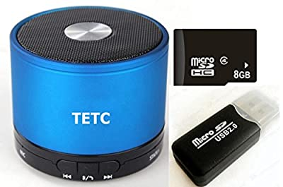TETC Wireless Mini Bluetooth speaker HiFi Audio player with MIC For iPhone 5 ipad 3 Ipad 4 smart phone with Rechargeable Battery and Enhanced Bass Resonato (L-blue)+ one 8G Card + one Card Reader