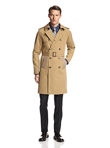 Band of Outsiders Men's Coated Double Breasted Trench Coat