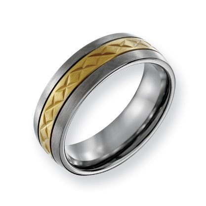 Titanium 7mm Satin and Gold-plated X Design Band Ring - Size 9 - JewelryWeb