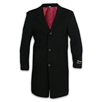 Mens Wool and Cashmere Long Formal Coat-Black - Size Small