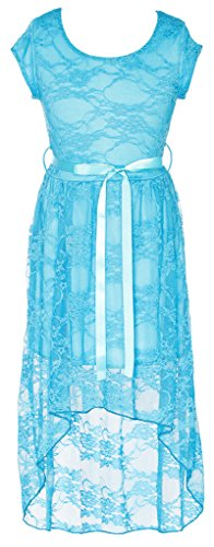 Wonder Girl Princess Cap Sleeve Big Girls' Lace Hi Low Dress Satin Belt Set