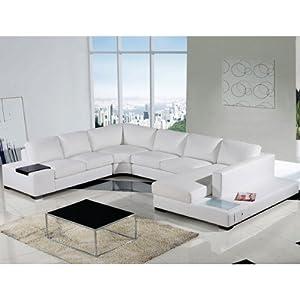 Amazon Tosh Furniture Umbria Modern White Leather