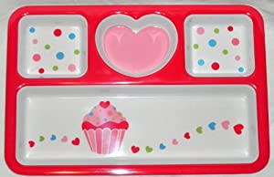 Pink and Red Heart Valentine Divided Platter with Polka Dots