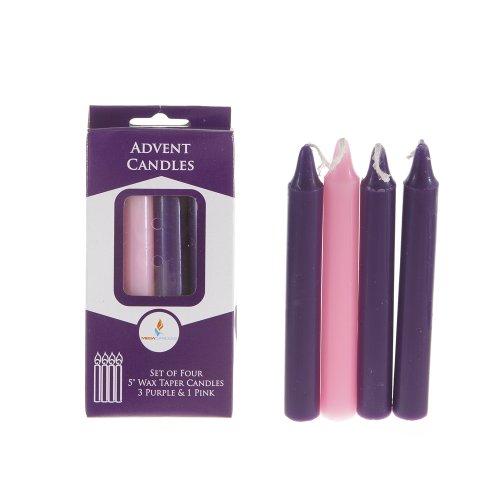 mega candles unscented 5 advent taper candle set of 4. Black Bedroom Furniture Sets. Home Design Ideas