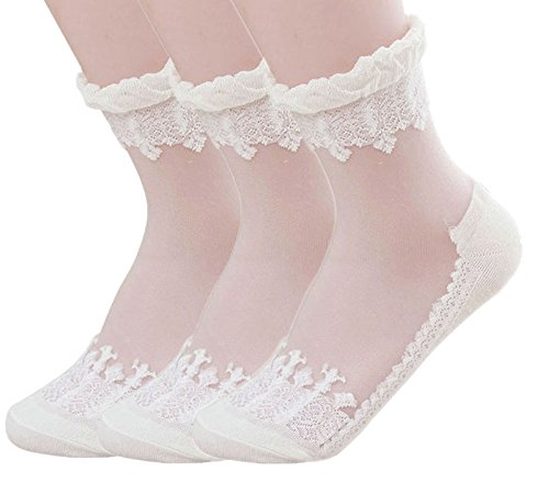 American Trends Women's Lace Transparent Elastic Ankle Socks(3Pair-White)