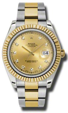Rolex Datejust II Champagne Dial Automatic Stainless Steel and 18kt Yellow Gold Mens Watch 116333CDO