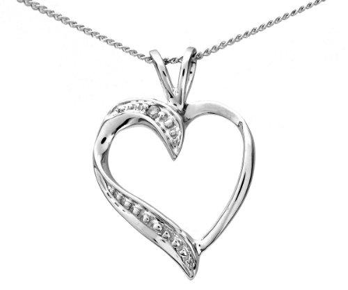 Romantic 9 ct White Gold Ladies Heart Diamond Pendant + Chain Princess Cut I-I1 - 18mm*13mm