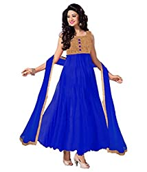 Decent World Elegant Blue Net Embroidered Unstitched Style Dress Material
