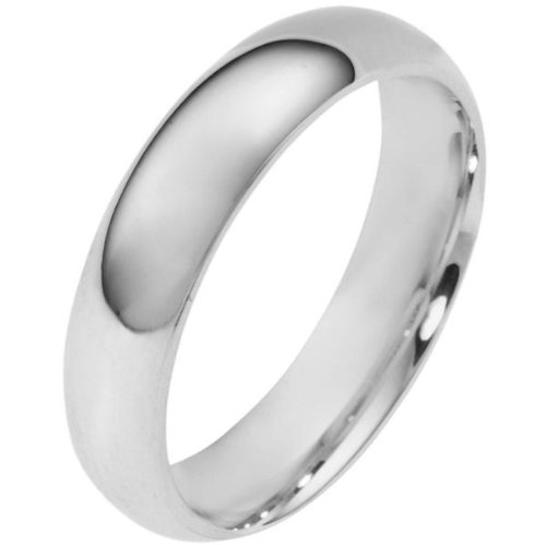 10K White Gold, Light Half Round Wedding Band 5MM (sz 10.5)