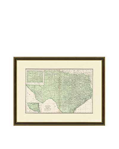 Vintage Print Gallery Antique Map Of Texas 1937, Multi, 21 x 27.5