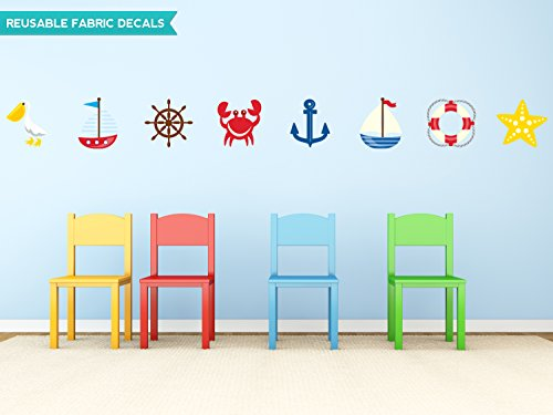 Sunny Decals Nautical Fabric Wall Decal Set with Pelican, Sailboats, Anchor, Starfish and More, Set of 8