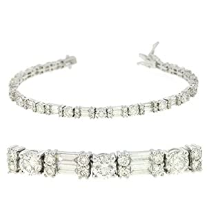 14K White Gold 5.67cttw Round Diamond Bracelet