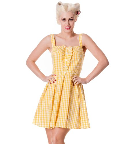 Hell Bunny Yellow Lana Dress M - UK 10 / EU 38