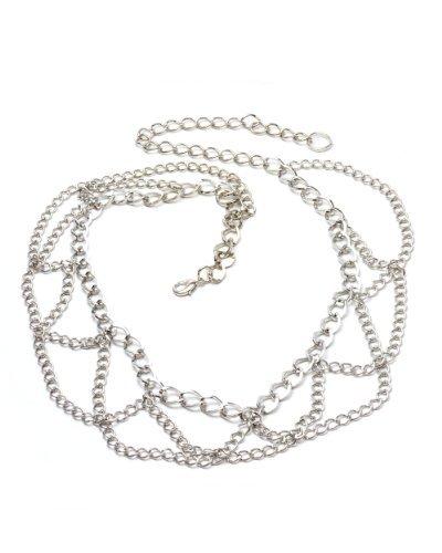 NYfashion101 Trendy Belly Chain Belt w/ Multi Link Chains IBT1002-Silver