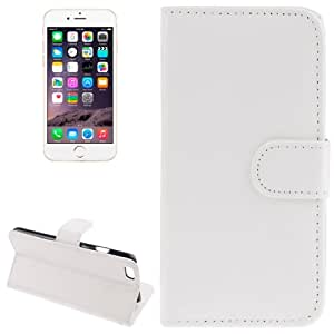 Sheepskin Texture Horizontal Flip Magnetic Button Leather Case with Card Slot & Holder for iPhone 6 Plus(White)