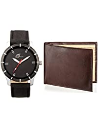 Arum Casual Analog Black Dial Watch &Brown Wallet For Men
