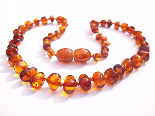 Certified Natural Batlic Amber Baby Teething Necklace - Cognac Baroque - *SCREW CLASP* *SAFETY KNOTTED* - 1