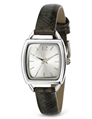 M&S Collection Square Face Faux Snakeskin Print Strap Watch