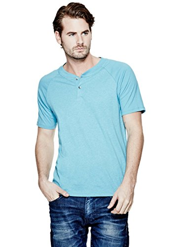 GUESS Men's Short-Sleeve Stream-Jersey Blocked Henley