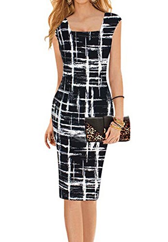 Faithtur-Square-Neck-Sketch-Stripes-Print-Bodycon-Midi-Knee-Long-Pencil-Dress