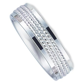 6.0 Millimeters Palladium 950 Wedding Ring with Multi Rope Design Center and Bright Polished Flat Edges. Flat Comfort Fit Style SV663PD6, Finger Size 7¾