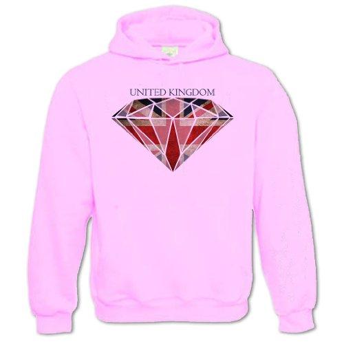Bang Tidy Clothing Unisex Adults Diamond Union Jack Flag Hoodie Pink Xxl