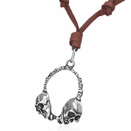 Urban Male Adjustable Length Brown Leather Necklace With Skull Headphone Pendant