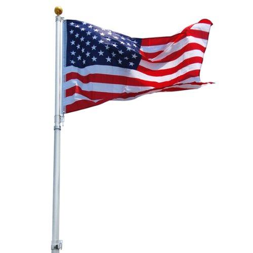25 Foot Telescoping Flag Pole Kit Including Beautiful Us Flag