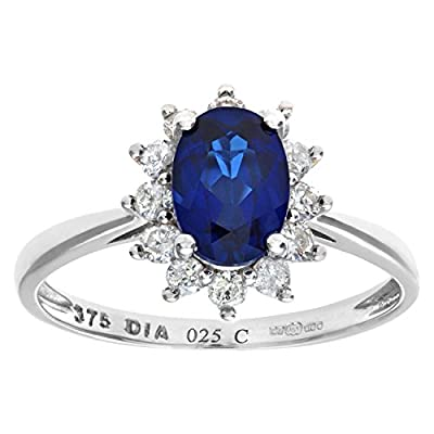 Ariel Round Brilliant 0.25ct Sapphire and Diamond 9ct Oval Cluster Ring