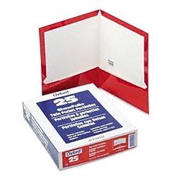 High Gloss Laminated Paperboard Folder, 100-Sheet Capacity, Red, 25/Box