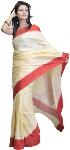 Exotic India Plain Chamomile-Cream Puja Sari