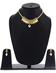 Sitashi Ethenic White Pearl Antique Gold Plated Temple Coin Necklace Set/Artiicial Jewellery For Women