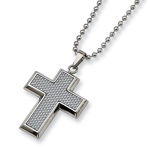 Chisel Grey Carbon Fiber Polished Stainless Steel Cross Necklace on 22 Inch Bead Chain